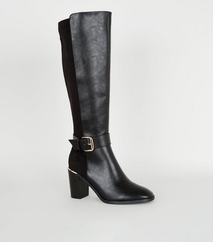 promo code d819f e97fd Schwarze, kniehohe Stiefel in Leder-Optik mit Absatz Für später speichern  Von gespeicherten Artikeln entfernen