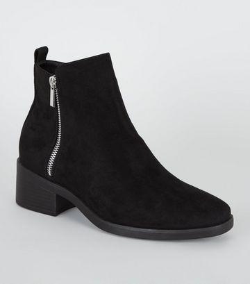Black Suedette Low Block Heel Ankle Boots