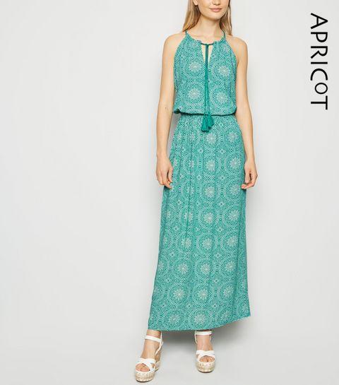 e822558aec ... Apricot Green Tile Print Maxi Dress ...