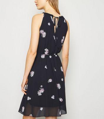 Apricot Black Floral Skater Dress New Look