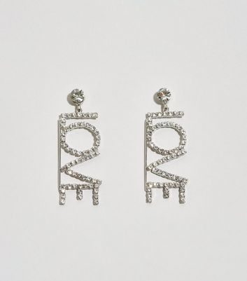 Silver Diamanté Love Drop Earrings