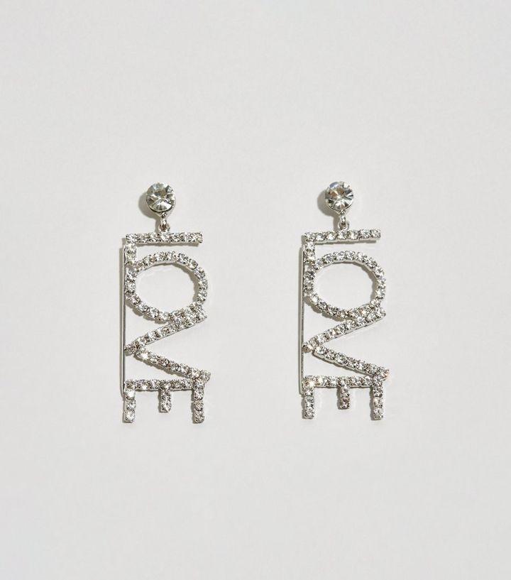 f2fe2d610 Silver Diamanté Love Drop Earrings | New Look