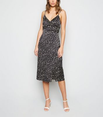 Black Satin Spot Wrap Midi Dress