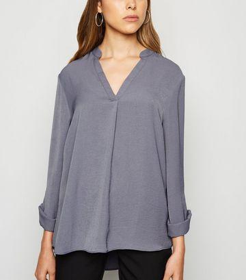 Dark Grey Herringbone Tab Long Sleeve Shirt
