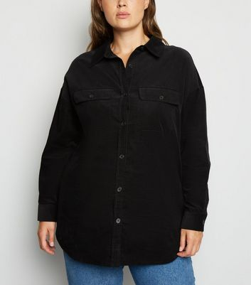 Curves Black Corduroy Long Sleeve Shirt by New Look