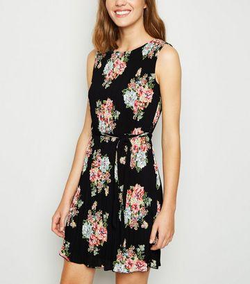 Black Floral Pleated Mini Dress