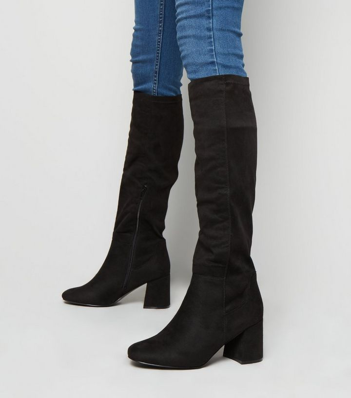 info for f1438 9d7a6 Wide Fit Black Flared Heel Knee High Boots Add to Saved Items Remove from  Saved Items