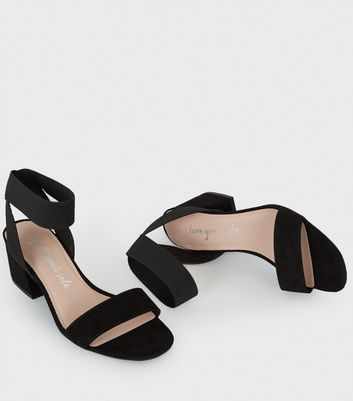 Wide Fit Black Low Block Heel Sandals