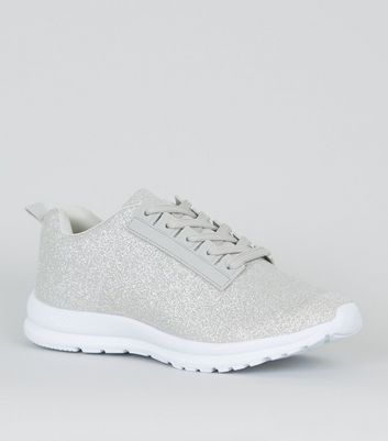 Silver Glitter Lace Up Trainers | New Look