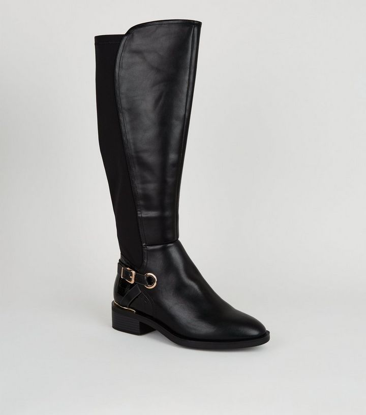 compare price laest technology choose genuine Extra Calf Fit Black Leather-Look Knee High Boots Add to Saved Items Remove  from Saved Items