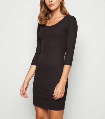 Black Ribbed Scoop Neck Bodycon Dress