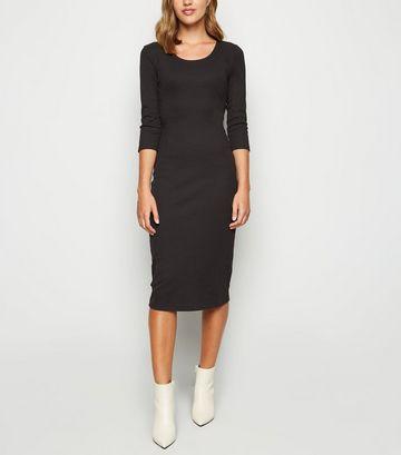 Black Ribbed Scoop Neck Bodycon Midi Dress