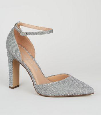 Wide Fit Silver Glitter Court Stilettos