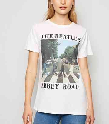 White The Beatles Abbey Road Slogan T-Shirt