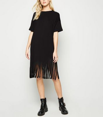 Black Tassel Hem Tunic Dress