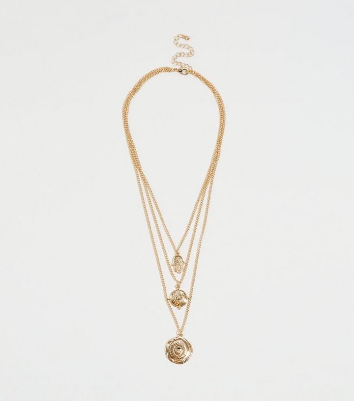 Gold Layered Pendant Necklace New Look