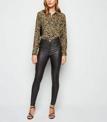 Brave Soul Black Coated Skinny Jeans