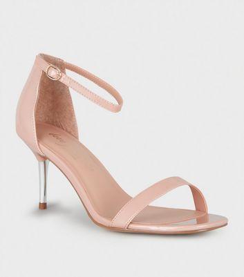Pale Pink Patent Metal Kitten Heels