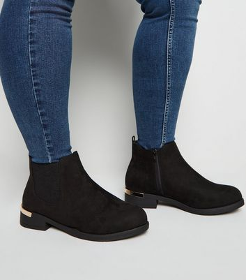 Extra Wide Fit Black Suedette Chelsea
