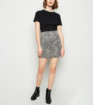 Brown Leopard Jacquard Tube Skirt