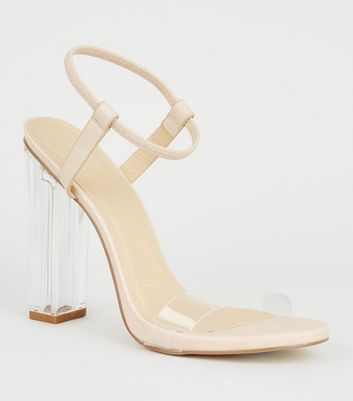 Nude Leather-Look Clear Strap Block Heels