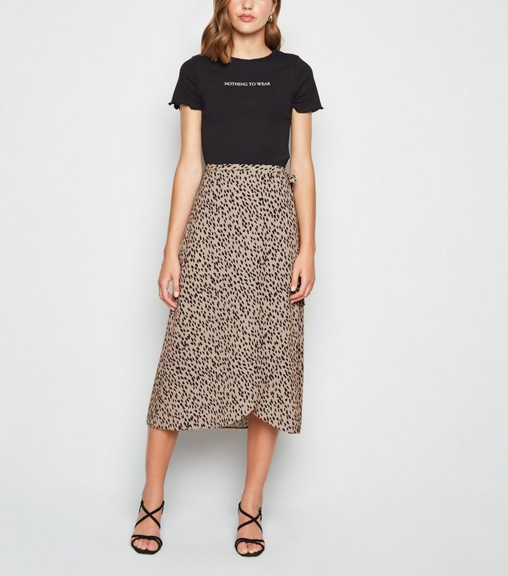 low priced various styles complete range of articles Brown Abstract Spot Print Wrap Midi Skirt Add to Saved Items Remove from  Saved Items