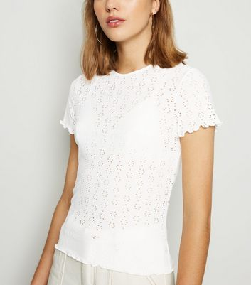 Off White Broderie Frill Trim T-Shirt