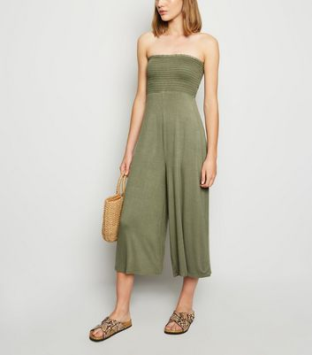Cameo Rose Khaki Shirred Bandeau Jumpsuit