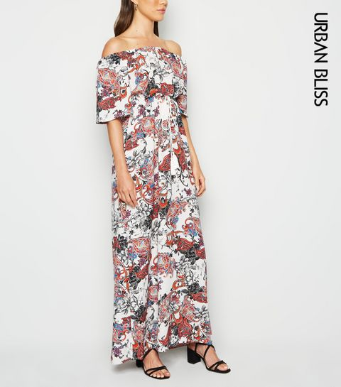 88fddfadfe08 ... Urban Bliss White Paisley Bardot Maxi Dress ...