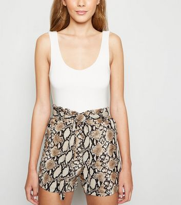 Pink Vanilla Light Brown Snake Print Paperbag Shorts