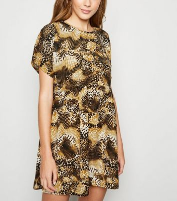 Blue Vanilla Yellow Animal Print Smock Dress
