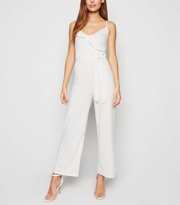 Innocence Cream Ribbed Wrap Jumpsuit