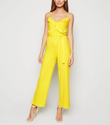 Innocence Yellow Ribbed Wrap Jumpsuit