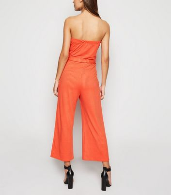 Innocence Bright Orange Ribbed Bandeau Jumpsuit New Look
