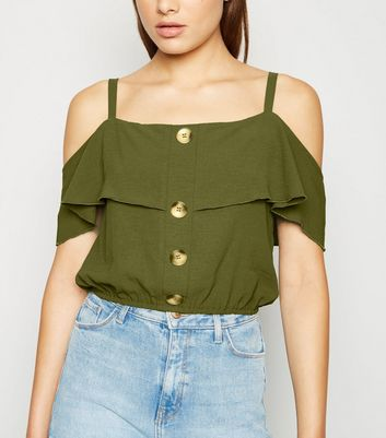 Cameo Rose Olive Cold Shoulder Crop Top