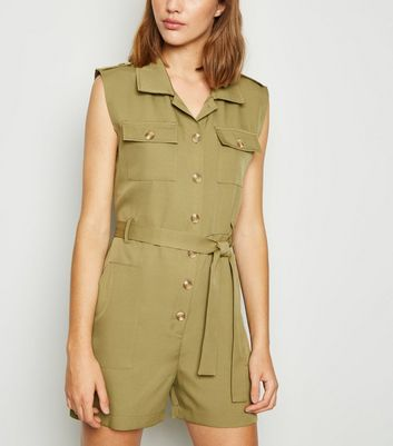 Cameo Rose Khaki Sleeveless Utility Playsuit