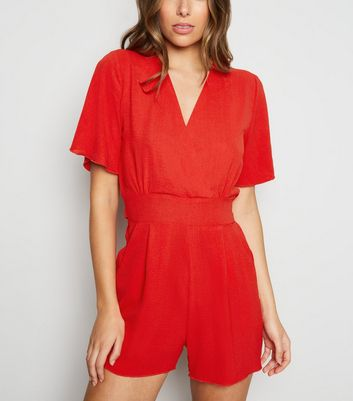 Cameo Rose Red Wrap Playsuit