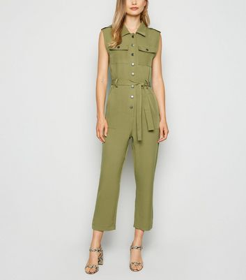 Cameo Rose Olive Sleeveless Utility Jumpsuit