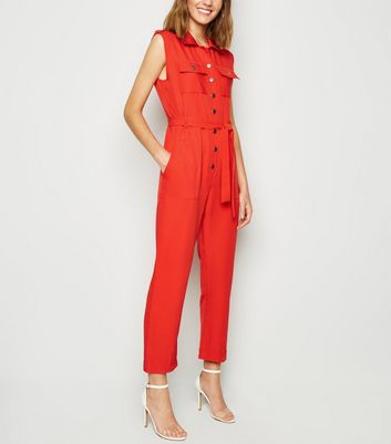 Cameo Rose Red Sleeveless Utility Jumpsuit