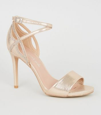 Wide Fit Gold Diamanté Trim Cut Out Heels