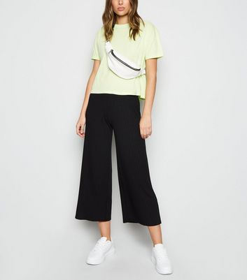 Black Ribbed Wide Leg Crop Trousers