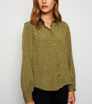 Green Spot Balloon Sleeve Shirt