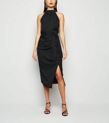 Black Jacquard Satin Midi Skirt