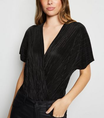Black Plissé Wrap Bodysuit