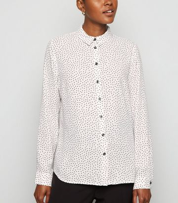 White Ditsy Floral Long Sleeve Shirt