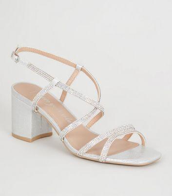 Wide Fit Silver Diamanté Strap Sandals