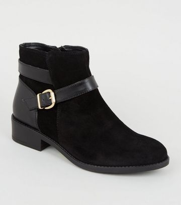 Wide Fit Black Suede Buckle Strap Boots