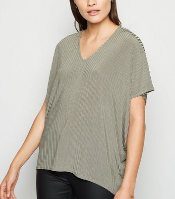 Khaki Slinky Ribbed Oversized T-Shirt