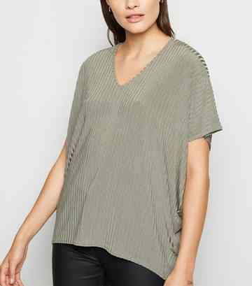 Khakifarbenes, geripptes T-Shirt in Oversize