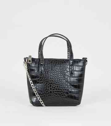 Black Faux Croc Mini Tote Shoulder Bag